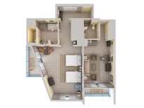 Bay View Suite - Two Doubles - Top Down View